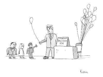 """Vendor selling """"Important Balloons"""" for thirty dollars to children in suits. - New Yorker Cartoon"""