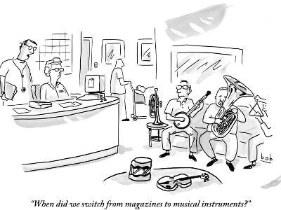 """""""When did we switch from magazines to musical instruments?"""" - New Yorker Cartoon"""