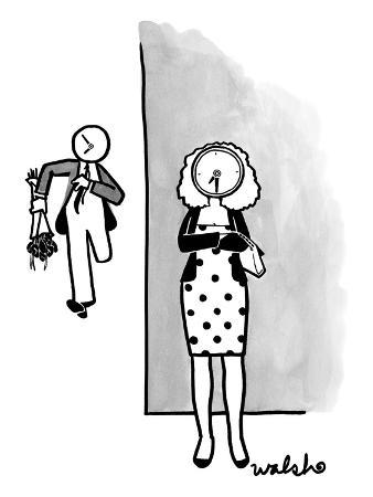 A woman dressed up for a date waits impatiently. Her date is seen running … - New Yorker Cartoon
