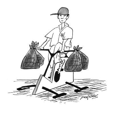 Chinese-restaurant delivery boy carries bundles of food on handlebars of s… - New Yorker Cartoon