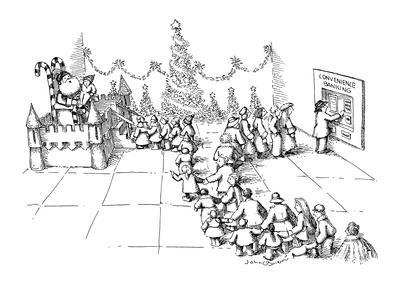 A line of children wait to see Santa Claus to tell him what they want for … - New Yorker Cartoon