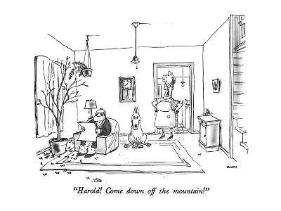 """Harold!  Come down off the mountain!"" - New Yorker Cartoon"