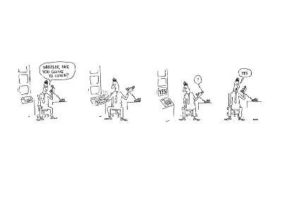 Four drawings depicting a man being asked over the telephone if he is goin… - New Yorker Cartoon