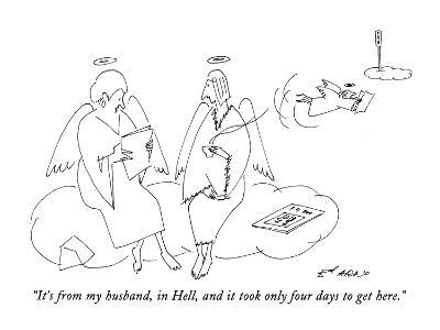 """""""It's from my husband, in Hell, and it took only four days to get here."""" - New Yorker Cartoon"""