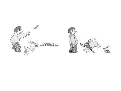 Man with dog throws stick toward horizon, which is drawn in minute perspec… - New Yorker Cartoon