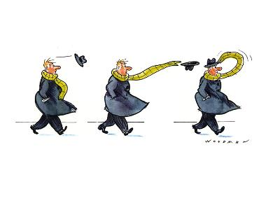 Sequence of three drawings in which a man's hat is blown off by the wind a… - New Yorker Cartoon
