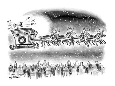 Reindeer wearing suits of armor pull Santa's sleigh, which looks like an a… - New Yorker Cartoon
