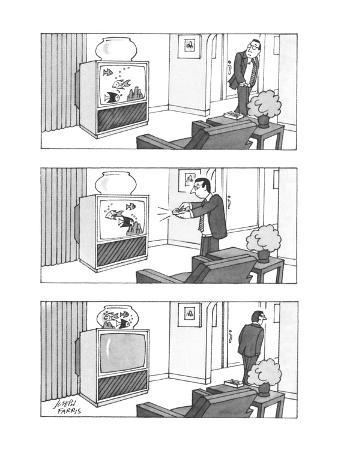 Man switches channel on television to make swimming fish go from the set i… - New Yorker Cartoon