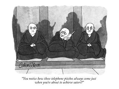 """""""You notice how these telephone pitches always come just when you're about…"""" - New Yorker Cartoon"""