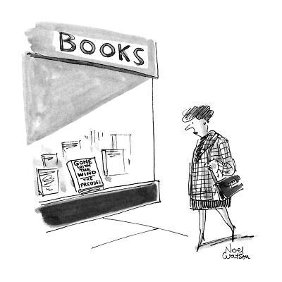 Woman walks by a bookstore and looks into the window at a a book that read… - New Yorker Cartoon