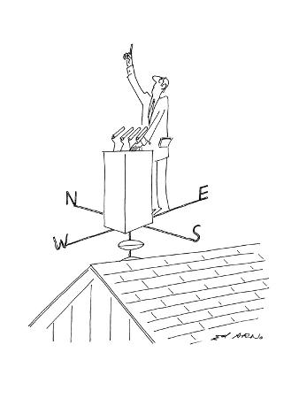 Politician stands at podium which is on top of a weathervane with one fing… - New Yorker Cartoon