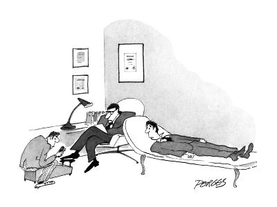 Therepist getting his shoes shined while talking to patient. - New Yorker Cartoon