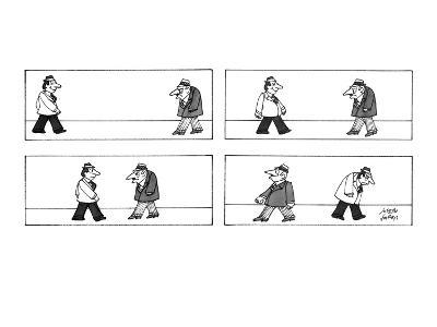 Two men passing each other.  Each wear hats.  One man has a mean expressio… - New Yorker Cartoon