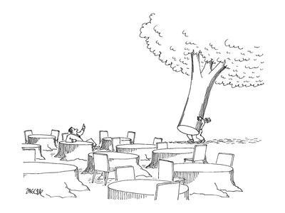 Man, sitting at tree stump table, motions to a waiter to bring over the re… - New Yorker Cartoon