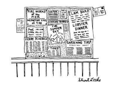 Bulletin board with various leaflets pinned up on it; they say 'The Summer… - New Yorker Cartoon