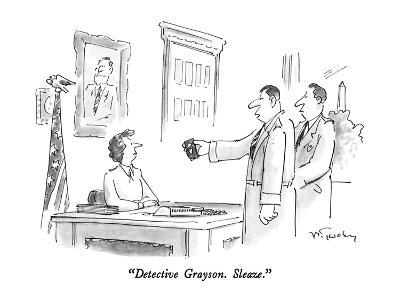 """Detective Grayson.  Sleaze."" - New Yorker Cartoon"