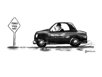 Man in car speeds by a sign that reads 'Funky When Wet.' - New Yorker Cartoon