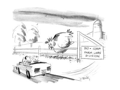 """A giant chicken looks over a fence as if it were a cow, at a passing motor…"""" - New Yorker Cartoon"""
