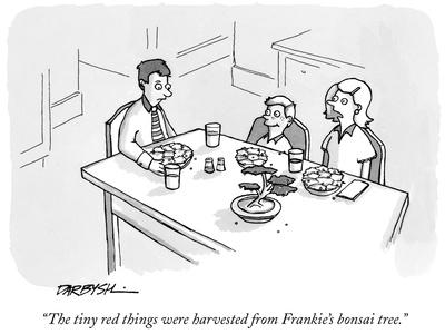 """The tiny red things were harvested from Frankie's bonsai tree."" - New Yorker Cartoon"