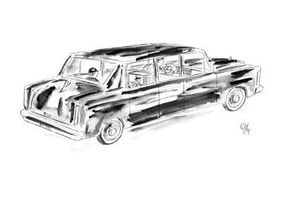 Young boy being driven home by chauffer. - New Yorker Cartoon