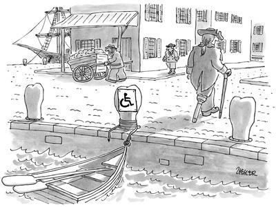 Sailor with a wooden leg, in colonial times, leaves his row boat tied up t… - New Yorker Cartoon