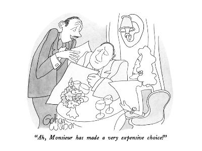 """Ah, Monsieur has made a very expensive choice!"" - New Yorker Cartoon"
