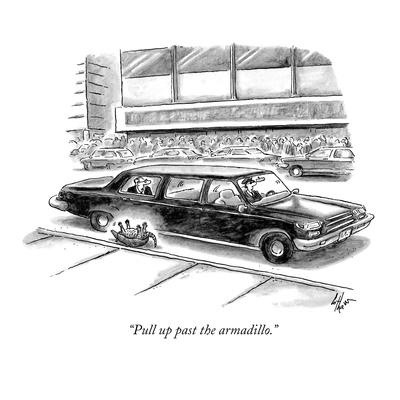 """Pull up past the armadillo."" - New Yorker Cartoon"
