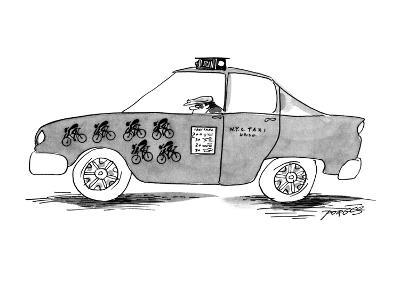 Taxicab with stamps for rundown bikers. - New Yorker Cartoon