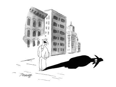 A man wearing dark glasses looks at his shadow on the sidewalk; it is blac… - New Yorker Cartoon