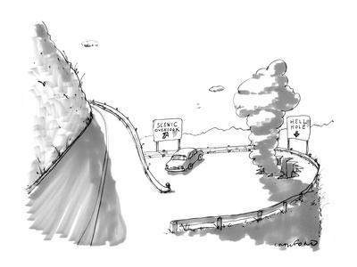 One road sign reads, 'Scenic Overlook,' and another beside a big hole read… - New Yorker Cartoon