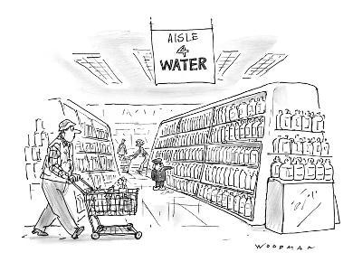 Little Dutch boy at supermarket holds his finger against a bottle, in the … - New Yorker Cartoon