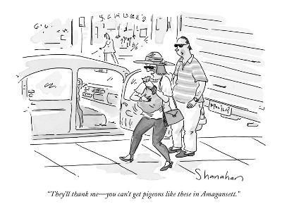 """They'll thank me—you can't get pigeons like these in Amagansett."" - New Yorker Cartoon"