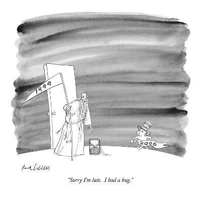 """""""Sorry I'm late.  I had a bug."""" - New Yorker Cartoon"""