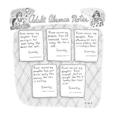 Adult Absence Notes - New Yorker Cartoon