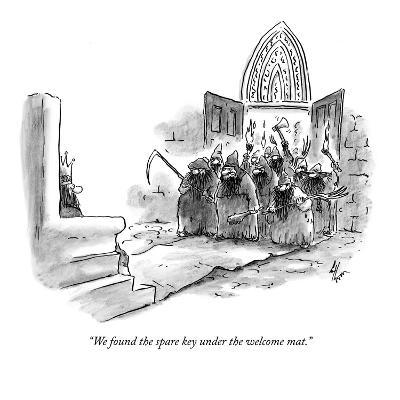"""We found the spare key under the welcome mat."" - New Yorker Cartoon"