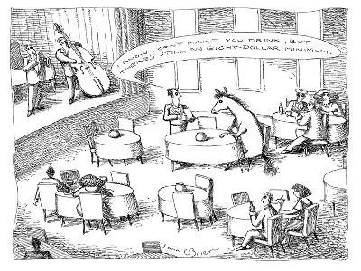 """Waiter talking to a horse sitting at a table: """"I know I can't make you dri…"""" - New Yorker Cartoon"""