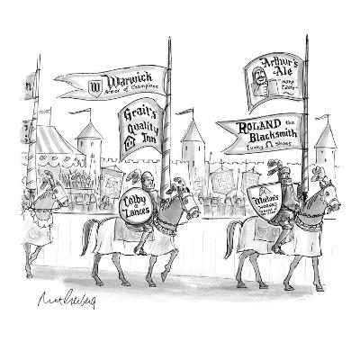 Knights on horseback getting ready to joust sport ads for various goods on… - New Yorker Cartoon