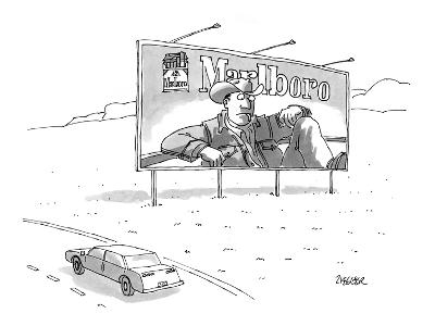 Marlboro billboard on side of highway with the cowboy looking at a limp ci… - New Yorker Cartoon