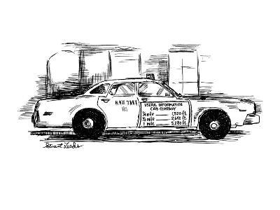 Sign on taxi cab door reads; Useful Information Cab Company, andlists meas… - New Yorker Cartoon