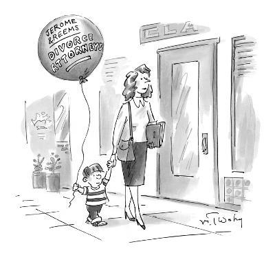 Small boy walks down the street holding his mother's hand, with a balloon … - New Yorker Cartoon