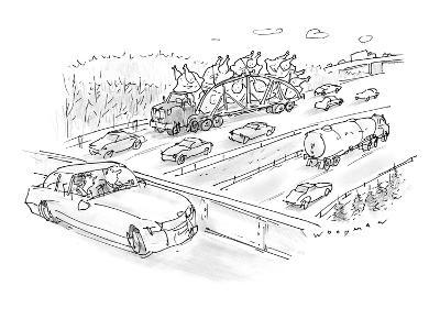 Driver on overpass looking at tractor trailer filled with giant turkeys re… - New Yorker Cartoon