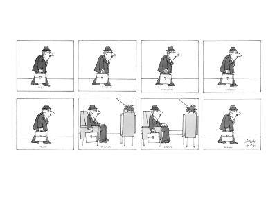 Man walks with his briefcase in his hand and sits down in a reclining chai… - New Yorker Cartoon