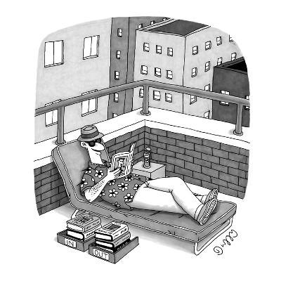 Man in a deck-chair has an 'In' and 'Out' box for his books. - New Yorker Cartoon