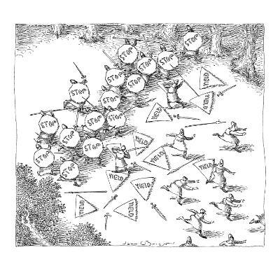 Sword and spear battle between one group of soldiers carrying stop signs, … - New Yorker Cartoon