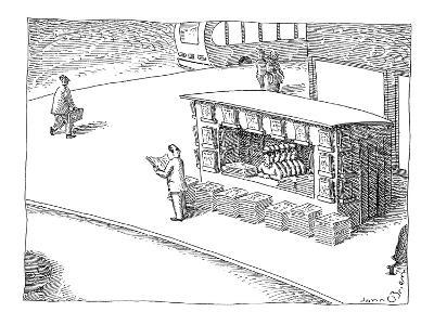 Man at newstand with multiple stacks of newspapers and multiple copies of … - New Yorker Cartoon