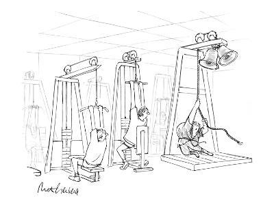 Hunchback/Quasimodo rings bells in gym while other guys pull weights. - New Yorker Cartoon