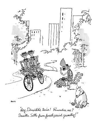 """""""Hey, Dinwiddie twins!  Remember me? Drusilla Settle from fourth-period ge…"""" - New Yorker Cartoon"""