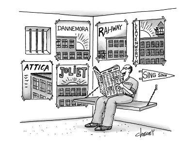 Prisoner's cell has pennants and posters from all the prisons he's been in… - New Yorker Cartoon