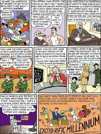 Double page panel cartoon 'Our Millennium in Review,' highlights events fr… - New Yorker Cartoon