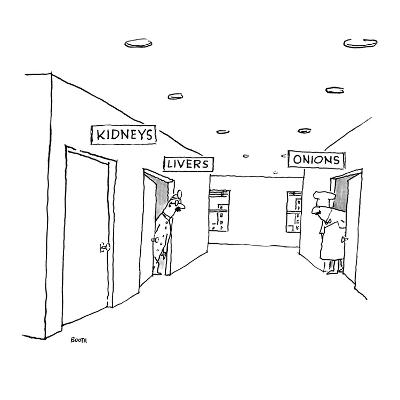 A hospital hallway with signs over the doors.  One reads 'Kidneys,' the ot… - New Yorker Cartoon